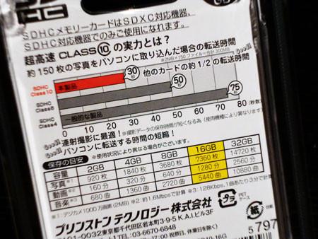 16GB・CLASS10のSDカード